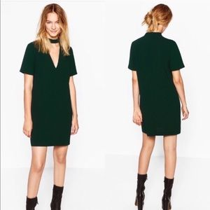 Zara green mini dress with choker neck